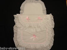 Beautiful Pram Quilt and Pillow  Set suitable for MOST PRAMS COLOUR WHITE / PINK