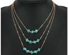 Hottest Punk Turquoise Gold Tone Pendants Choker Statement Multilayer Necklace