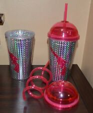 2 Gun Insulated Cold Beverage Travel Cups w/ Lids & Crazy Loop Straws Travel Mug