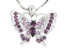 New Purple Austrian Crystal Butterfly Pendant Silver .925 Chain Necklace