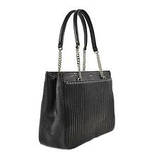 DKNY Women's Gansevoort Pinstripe Quilted Shopper Tote Bag - Black