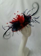 Navy & red saucer fascinator disc  races ascot hatinator wedding hat statement