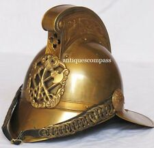 Victoria British Chief Brass Fire Brigade Fireman Helmet Brown Antique Finish