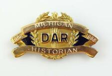 DAR Daughters of The American Revolution Michigan Historian Gold Filled Pin * S