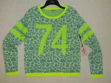 NWT Women Juicy Couture Pullover Leopard Sweatshirt Size M Color Safety Yellow