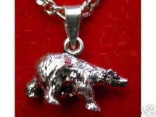 LOOK Sterling Silver Grizzly Bear Pendant Charm Jewelry