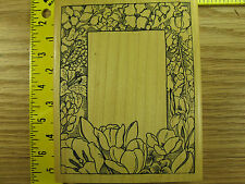 Rubber Stamp Frame of Flowers by Delafield Botanical Floral Stampinsisters #3919