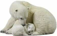 "7.75"" Wild Polar Bear Cub Cuddling W/ Mother Wildlife Statue Animal Decor Figure"