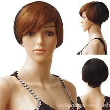 2016 NEW Women 100% Real Human Hair Wigs Short Wavy Curly Mommy Retro Style Wigs
