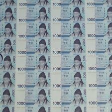 South Korea 2007 Uncut Sheet 45 NOTE 1,000won Currency Money AA9125708F
