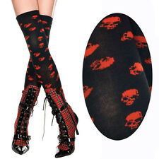 Black Punk Gothic Red Skull Pattern Thigh Highs Hi Stockings Halloween Costume