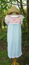 Vintage 70s Ethinc/Hippie/Festival/Folk/Embroidered/Lace&Cotton Gauze Dress