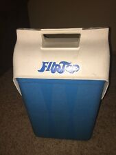 Flip Top Cooler Lunch Box Lid 12 Pack Blue White Ice Chest Push Lock