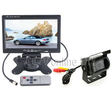 "12/24V Car Rear View Backup Camera Kit + 7"" LCD Monitor for Car/Bus/Truck/VAN"