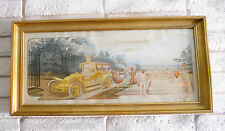 VINTAGE ERNEST MONTAUT POSTER DEPICTS RENAULT & ZEPPELIN AIRSHIP: READY TO HANG!