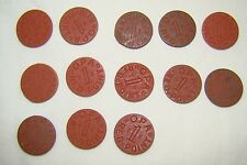 Set of 13 Opa Red Point 1 Ration Tokens All Different Letters World War II