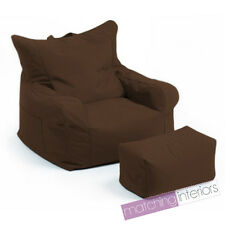 Brown Budget Bean Bag Chair + Foot Stool Gamer Armchair Garden Beanbag Seating