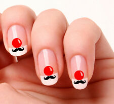 20 Nail Art Decals Transfers Stickers #632 - Red Nose Day Moustache. Red Nose
