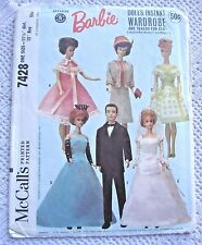 7428 SEWING PATTERN~1964~BARBIE&KEN DOLL CLOTHES:BRIDAL&BALL GOWN++KEN'S TUXEDO+