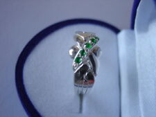 925k Sterling Silver 4 Band Emerald Turkish Puzzle Ring-Sizes from 4 to 12