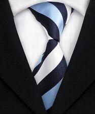 New Classic Striped Black White JACQUARD WOVEN 100% Silk Men's Tie Necktie F140