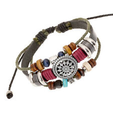 Adjustable leather beaded bracelet surfer charm bohemian jewellery BNWT