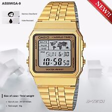 Casio A500WGA-9 Men Gold Stainless Steel Digital Watch World Time LED Backlight