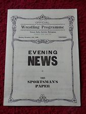 VERY RARE WRESTLING PROGRAMME MICHAEL O'LEARY V JAMES J. AUSSIE 1938