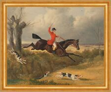 Foxhunting: Clearing a Ditch John Frederick Herring Jagd Pferd Reiter B A3 00112
