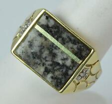 9ct Gold Moss Agate & Diamond Signet Ring Size S t0304
