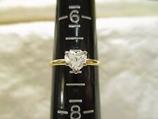 Vintage HEART SHAPED SOLITAIRE DIAMOND ENGAGEMENT RING 14K Yellow Gold, SZ 7