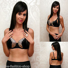 WoW Party Gogo Sexy BH Top Push up Nieten Schwarz Silber Gr. 34 36 38 A B C