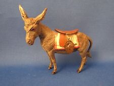 Vintage Heyde spelter figural animal bank, Donkey w/ saddle, mystery lock