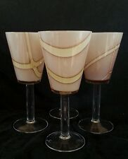 Hand blown art glass wine goblets 8 inches [SET OF FOUR]