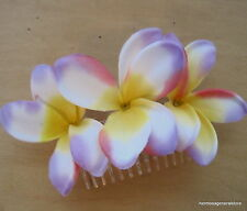 Triple Plumeria Silk Flower Hair Comb, Bridal,Luau,Dance,Wedding,Prom