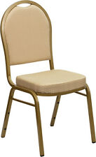 Dome Back Stacking Banquet Chair with Beige Patterned Fabric & Gold Frame Finish