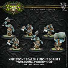 BNIB Warmachine Hordes - Trollblood Krielstone Bearer & Scribes (6) inc resin