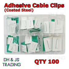 Assorted Box of Adhesive Cable Clips (Coated Steel) Qty 100 Wire Tie Mount Clip