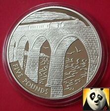 2004 ALDERNEY £5 POUND VIADUCT MASTERPIECE TRACK CONSTRUCTION SILVER PROOF COIN