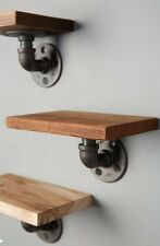 Anthropologie Style INDUSTRIAL Rustic STEAMPUNK WOOD AND PIPE WALL SHELF Unique