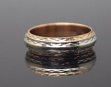 RUSSIA DIAMOND CUT ROSE YELLOW WHITE SOLID 14K GOLD SPINNING BAND RING SIZE 5.5
