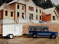 1979 Ford F-250 Custom Ladder Work Truck & Enclosed Trailer 1:64 Scale Diecast