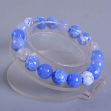 10mm Fashion Blue Crab fire agate Faceted gemstone beads stretchable bracelet