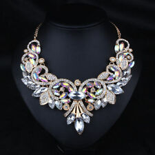 Women Rhinestone Crystal Chunky Statement Bib Pendant Chain Choker Necklace