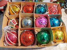 Box 12 Wire Wrapped Mica Embossed Chenille Glass Vtg Xmas Ornaments Finial
