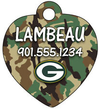 Green Bay Packers Camo Dog Tag Cat Tag Pet ID Personalized w/ Name & Number