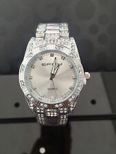 Luxury Mens diamond dial quartz Silver bracelet watch hiphop bling iced out wow