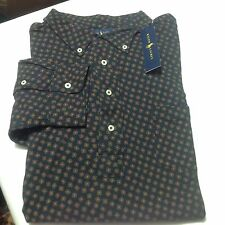 Polo Ralph Lauren Men Big And Tall Printed Popover Shirt Top 3XB Navy Blue $145
