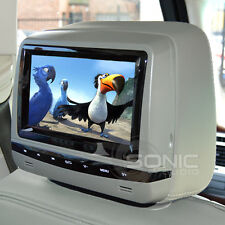 Universal Grey Leather DVD/USB/SD Headrests Screens/Games Audi/BMW/Lexus/Ford