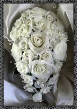 BRIDES TEARDROP BOUQUET , Wedding Flowers All ivory roses with crystal sprays